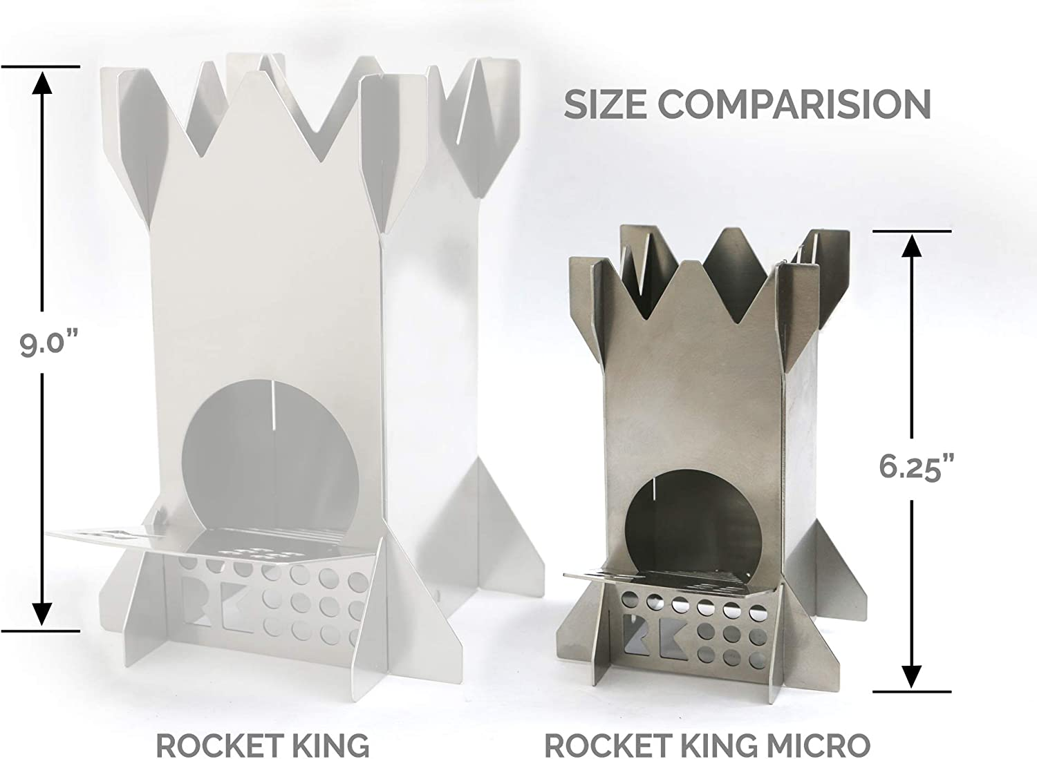 Rocket King Micro Flat Pack Stainless Steel Wood Burning Camping Stove Made in USA Perfect for Backpacking Hiking and Canoeing