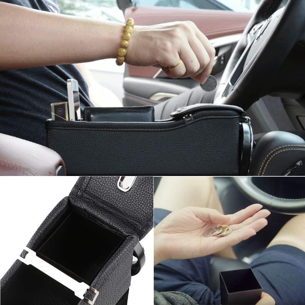 Wittyware Black Left Car Seat Side Organizer Seat Pockets Seat Gap Filler with Cupholder