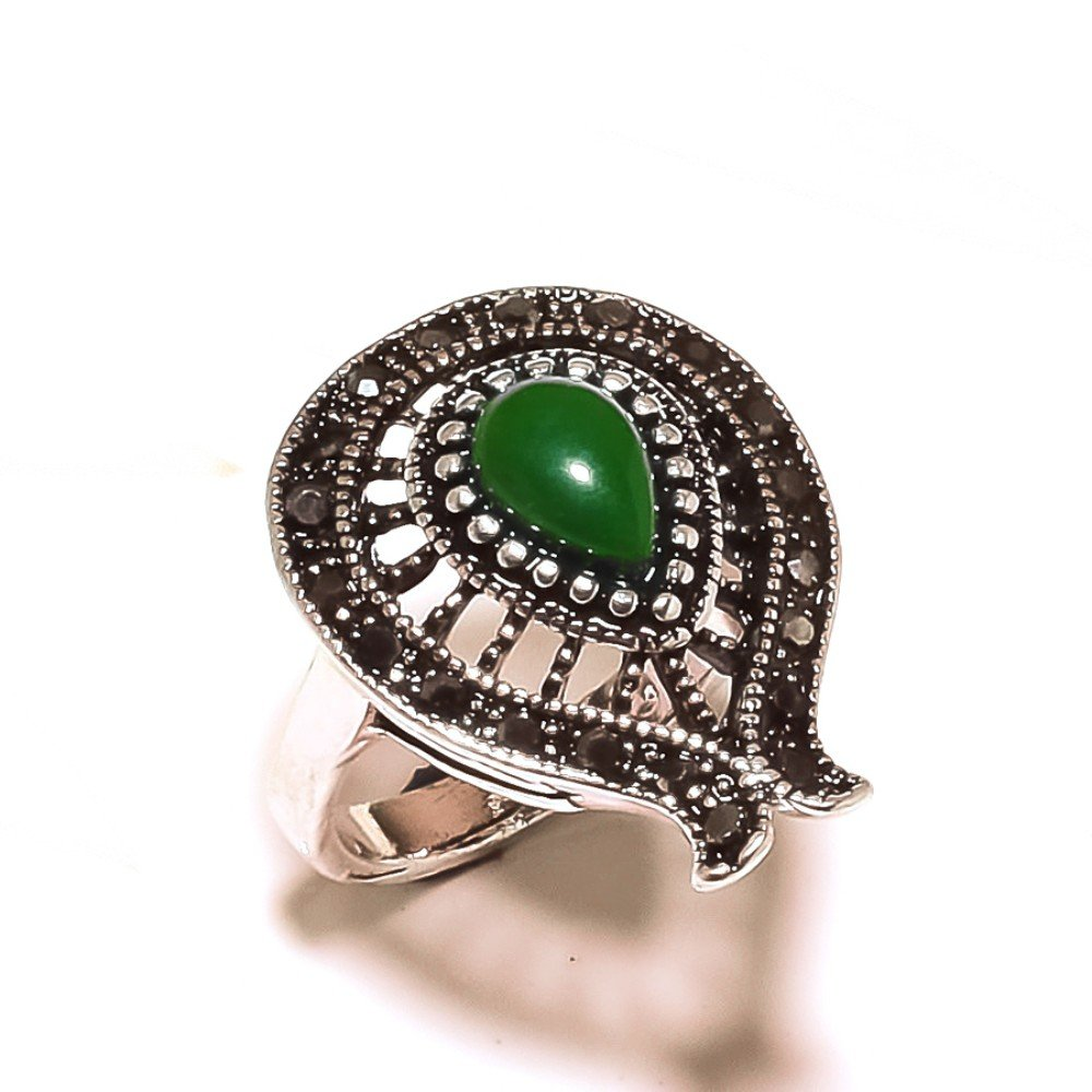 Fancy Green Onyx Sterling Silver Overlay 6 Grams Oxidized Ring Size 6.5 US Marks Design