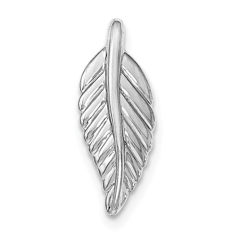 Lex /& Lu Sterling Silver w//Rhodium Polished Feather Pendant