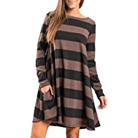 Women Casual Loose Tunic Dresses Tops Long Sleeve with Pockets Striped Crew Neck Fashion