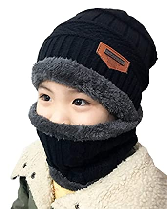 a0089c357ee Kids Winter Hat and Scarf Set Warm Knit Beanie Cap and Circle Scarf with  Fleece Lining