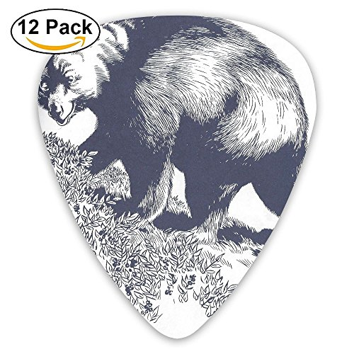 Bear Family 12 Pack Unique Guitar Gift For Electric Guitar,acoustic Guitar,mandolin,and Bass Celluloid Picks