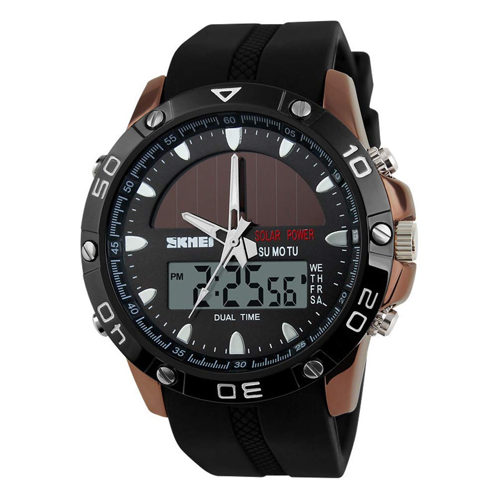 Solar Men's Watch, Dual Display Electronic Watch, Student Outdoor Sports Watch, Waterproof Personality Watch by SPORS