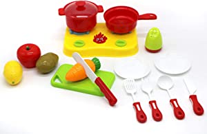 Toyzabo World Chef Gas Stove Set Pretend Cutting Food for Toddlers Play Pots and Pans Kitchen Accessories Toy Food with Toy Knife,Cutting Board,Veggies, Fruit, and Pot Healthy