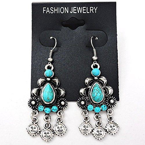 Turquoise Silver Black Vintage Style Chandelier Dangle Earrings
