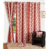 Yuga Home Décor Polyester Printed Blackout Sigma With Eyelets Long Door Curtain 48 X 108 Inches- Set Of 2 Pieces