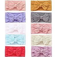 10pcs Baby Nylon Headbands whit Bow Headbands Set - Elastic Nylon Hairbands Turban Hair Accessories for Newborns Infants…