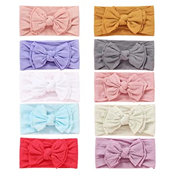 Baby Girl Headbands Newborn Infant Toddler Knotted Hairbands Bows Elastic Soft Floral Hair Band FREE, Nylon Headbands 10pcs