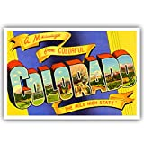 GREETINGS FROM COLORADO vintage reprint postcard set of 20 identical postcards. Large letter US state name post card pack (ca. 1930's-1940's). Made in USA.