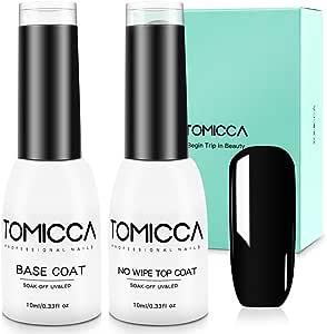TOMICCA 2x10ml No Wipe Top Coat and Base Coat Set,Soak Off UV LED Gel Nail Polish Base and Top Coat Kit Long Lasting Shiny Finish Gel Polish