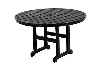 Image Unavailable  sc 1 st  Amazon.com & Amazon.com : POLYWOOD RT248BL Round Dining Table 48-Inch Black ...