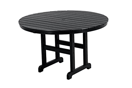 POLYWOOD RT248BL Round Dining Table, 48 Inch, Black