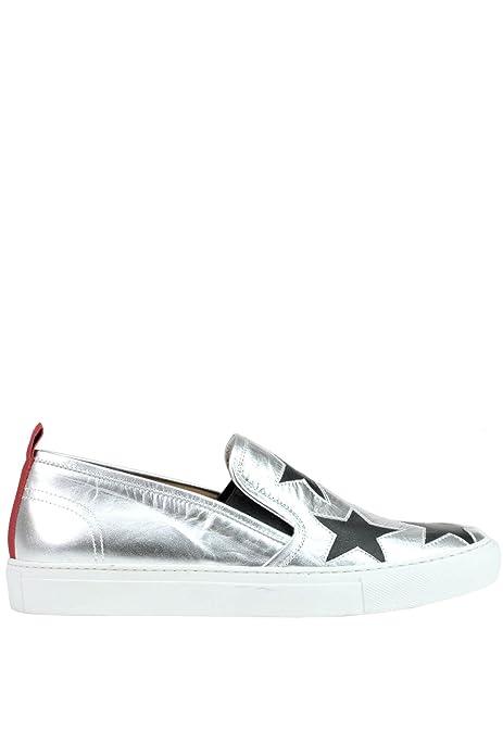 VIA ROMA 15 - Zapatillas de Otra Piel para Mujer Plateado Plata, Color Plateado, Talla 37 1/3: Amazon.es: Zapatos y complementos