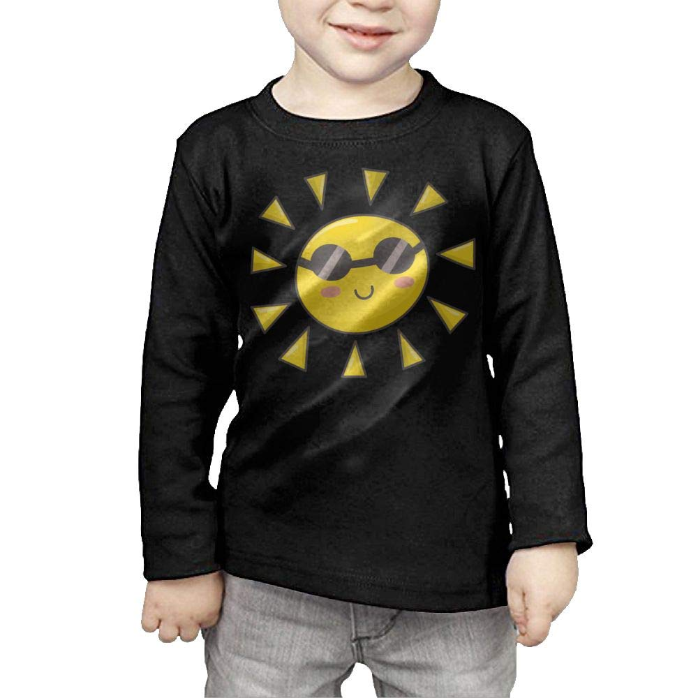 Long Sleeve Crew Neck T-Shirts Cute Sun Glasses for Girls by Qiop Nee
