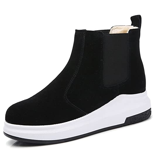 HKRAQF6068heise35 Suede Chelsea Boots For Women Winter Faux Fur Lined  Short Ankle Booties Black