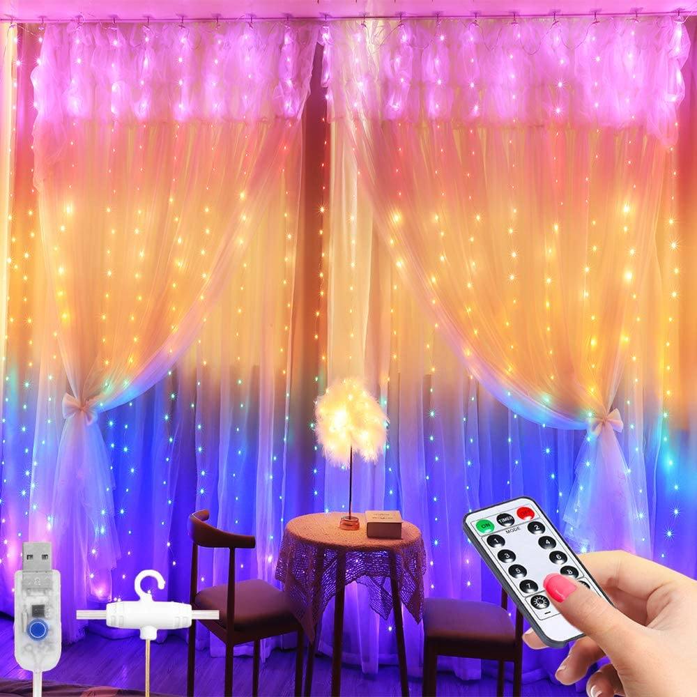 Curtain String Light -3×2.8m 280 LED 8 Modes Fairy Lights with Hook Remote Control USB WAS £12.99 NOW £6.49 w/code O4XHQ96J @ Amazon