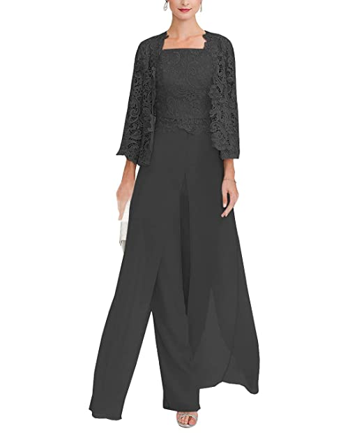 f48b7ee39c8 Women s 3 Pieces Chiffon Mother of Bride Dress Pant Suits with Long Sleeves  Appliques Lace Jacket for Weddinng