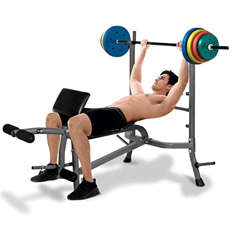 COSTWAY Banco de Pesas con Barras de Pesas Ajustable para Musculación Fitness Gimnasio Ejercicios Entrenamiento