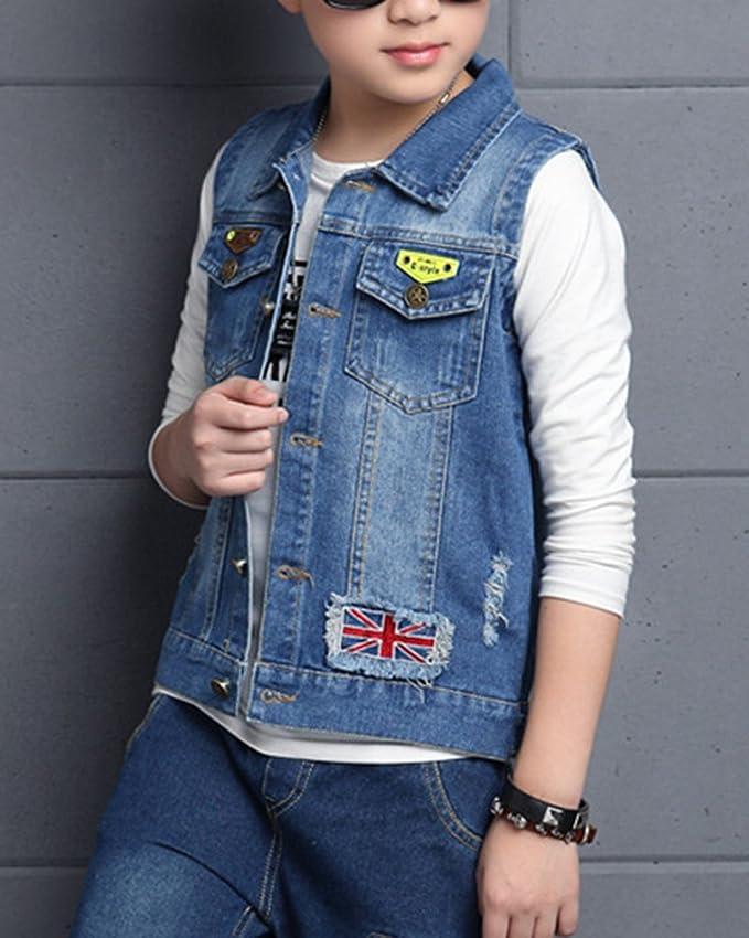 4d84b049c7e ShiFan Boys Sleeveless Denim Vest Kids Ripped Jean Jacket Lightweight Coat   Amazon.co.uk  Clothing