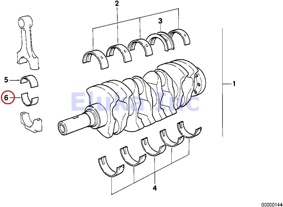 OEM Glyco BMW e30 e36 e46 e60 e83 e85 Standard Crankshaft Main Bearing Set 6 Cyl