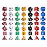 Kuuqa 7 x 7 (49 pcs) Polyhedral Game Dice Set 7 Color Complete set for Dungeons and Dragons DND D&D MTG RPG Card Games D% D20 D12 D10 D8 D6 D4 with Dice Bags