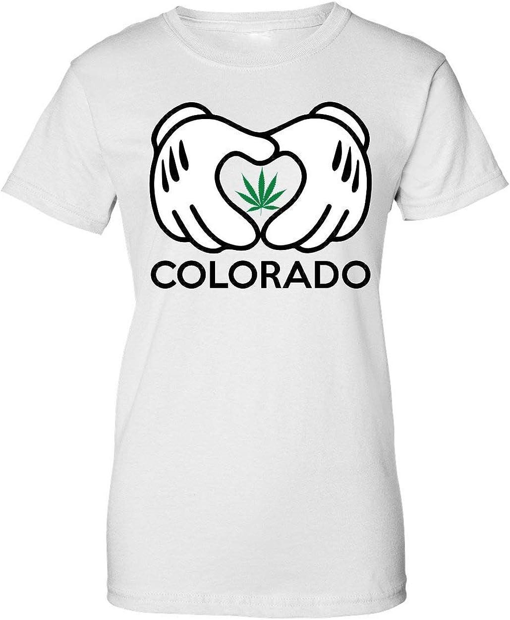 Brenos Design I Colorado Mickey Hands Weed Ganja Marijuana Cannabis Leaf 420 Camiseta de Mujer: Amazon.es: Ropa y accesorios