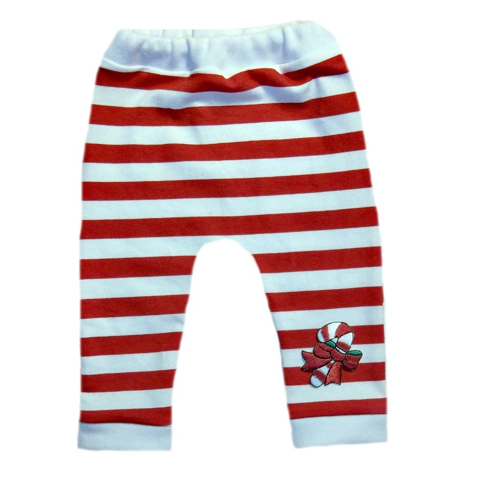 0-3 Months Jacquis Unisex Baby Red White Striped Leggings with Candy Cane