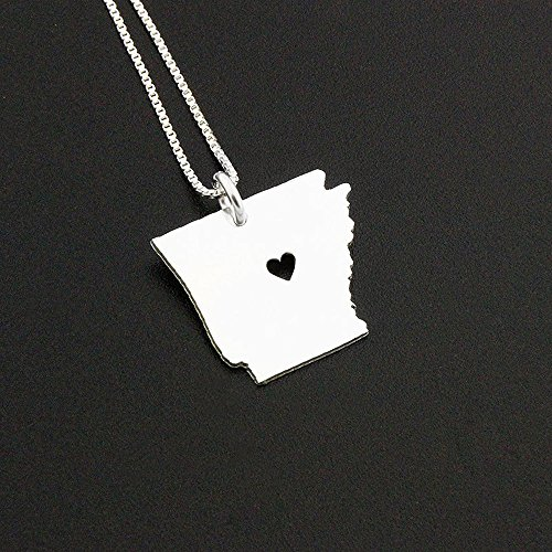 Arkansas necklace Personalized sterling silver Arkansas state necklace with heart Hometown Jewelry best friend Gift - family gift long distance relationship gifts Arkansas pendant