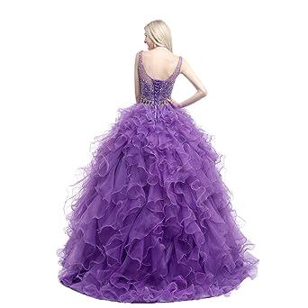 Engerla Mujer Scoop Abalorios Lentejuelas Cascada de novia quinceañera de organza vestido: Amazon.es: Ropa y accesorios
