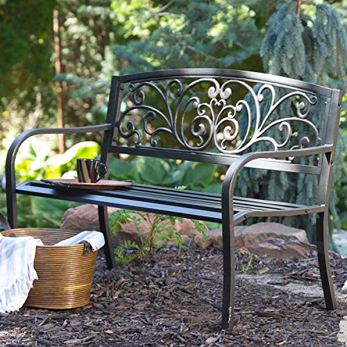 Swag Pads Curved Metal Garden Bench with Heart Pattern in Black Antique Bronze Finish