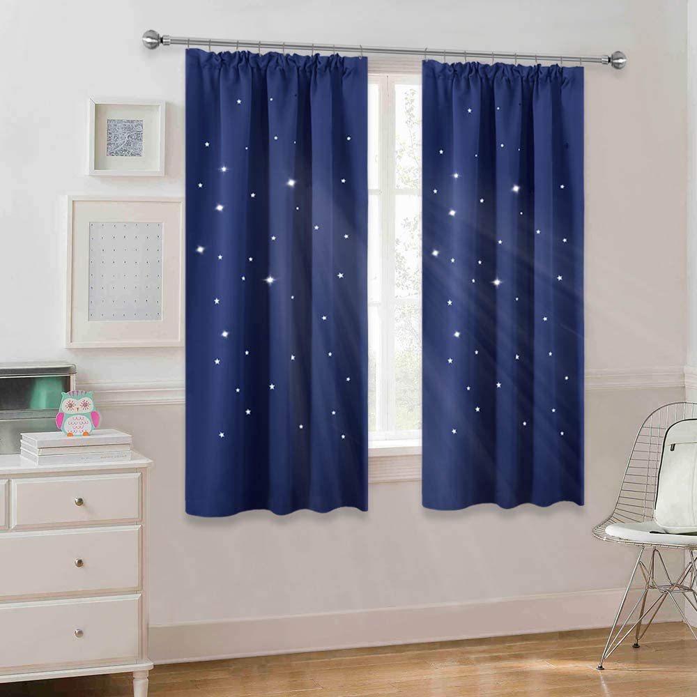 Grey Bedroom Curtain for Room Darken Pencil Pleat Hollow Out Window Drapes Blinds with Pattern Stars W 46-inch x L 54-inch Sold as 2 Panels Grey PONY DANCE Kids Blackout Curtains