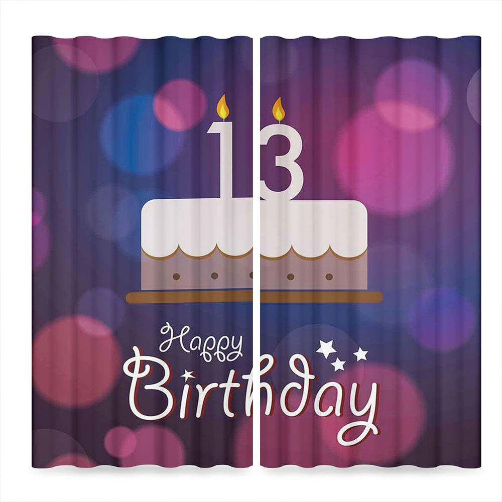 Door Curtain,13th Birthday Decorations for Living Room,Hand Drawn Party Cake with Number Candles Abstract Backdrop,141Wx94L Inches by TecBillion (Image #2)