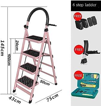 Escalera plegable, multifunción, antideslizante, resistente, para hogar, cocina, oficina, almacén, rosa: Amazon.es: Bricolaje y herramientas