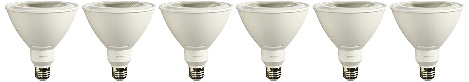 AmazonBasics 90 Watt Equivalent, Daylight, Dimmable, PAR38 LED Light Bulb | 6-Pack