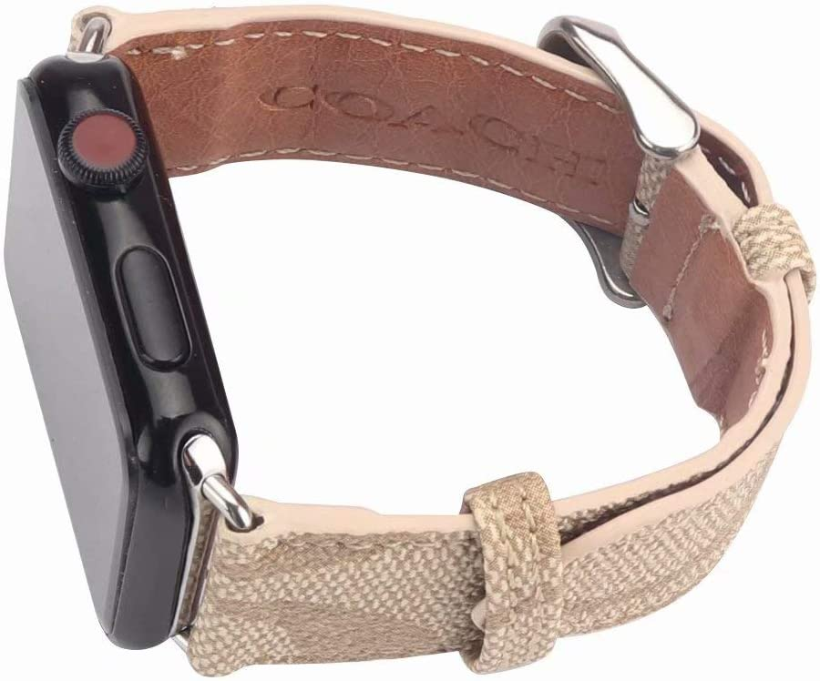 CO 38 Compatible Apple Watch Straps 38mm (fit for 40mm), Luxury Fashion PU Leather Classic C Wrist Bands for Women and Men, Replacement for 38/40MM Apple Watch Series 5 4 3 2 1 (Khaki)
