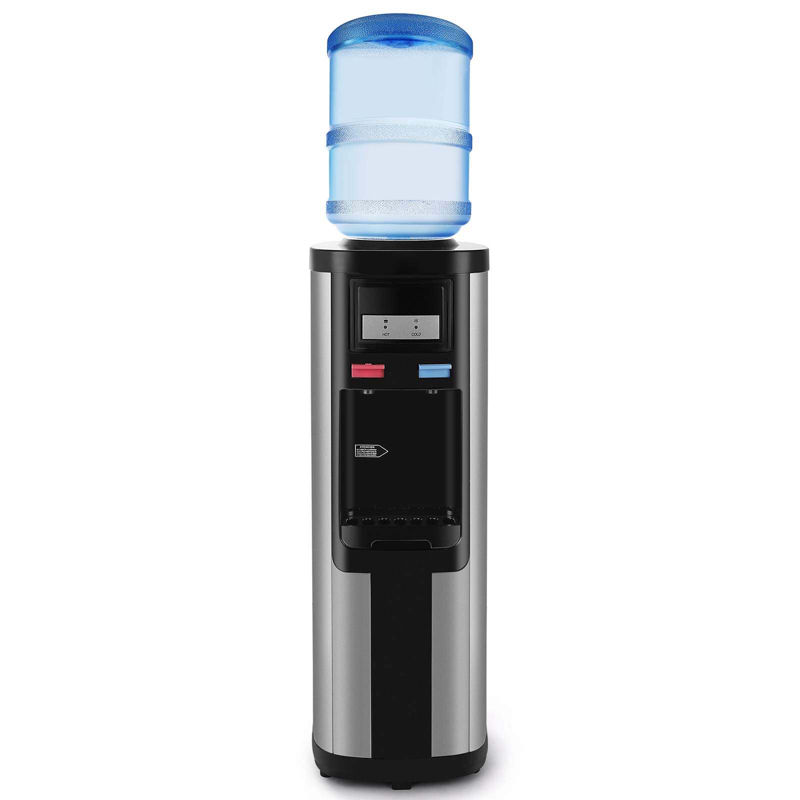 4-EVER Water Cooler Dispenser Top Loading 5 Gallon Stainless Steel Freestanding Compressor Cooling,Hot and Normal Temperature Water, Black