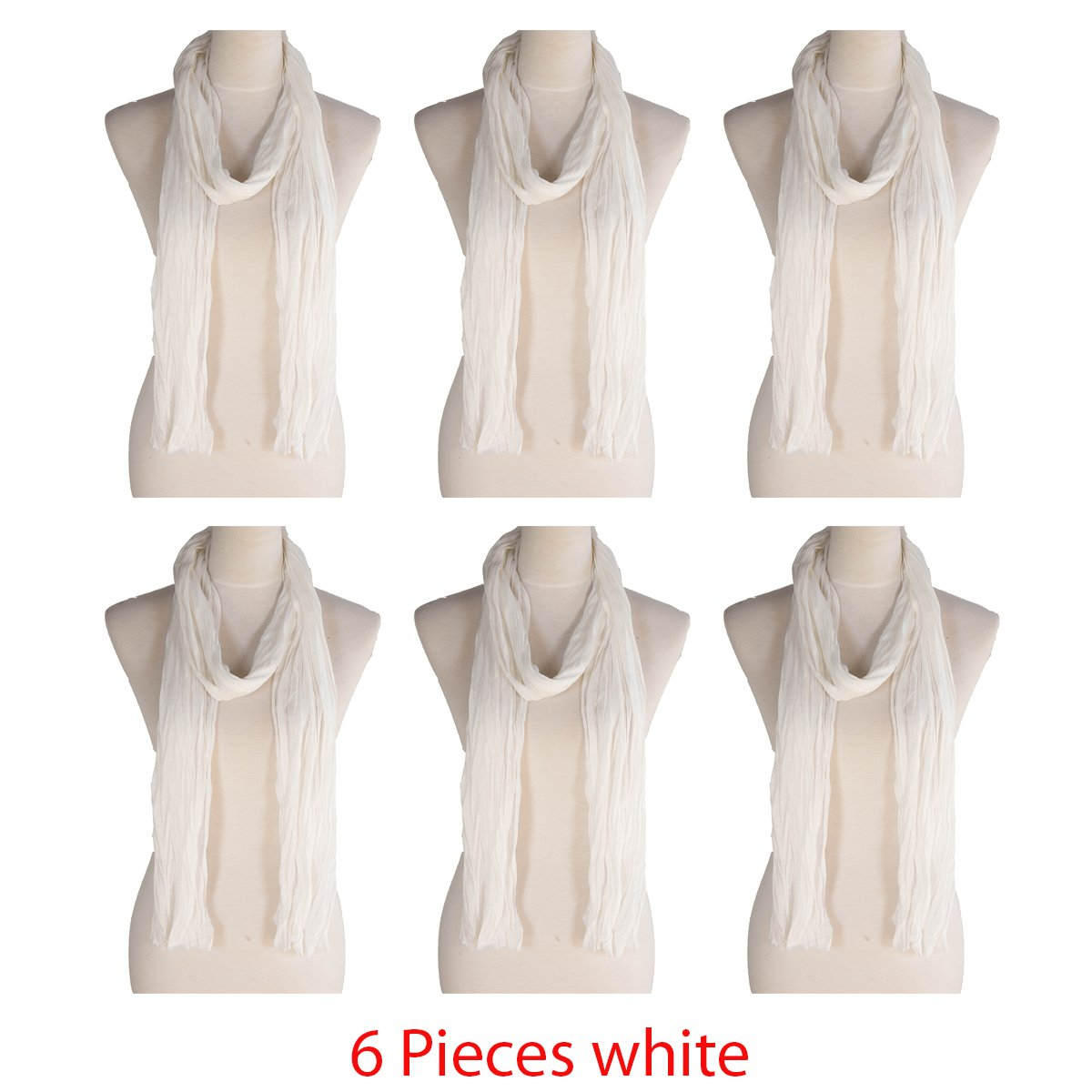 6 Pieces white Color Scarf, more than 40 colors, 76'' long, 14'' wide, Jersey Scarf (6 Pieces White)