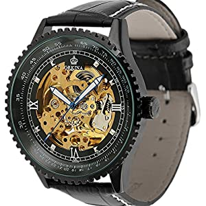 Carrie Hughes Men's Luxury Tourbillon Automatic Mechanical Stainless-Steel Waterproof Leather Watch Date