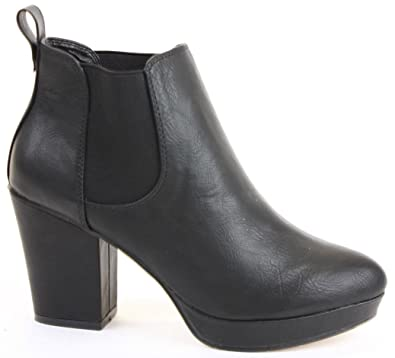 e0f92971d0f85 Ladies Womens Chelsea High Heel Block Shoes Platform Winter Heeled Booties  Ankle Boots Size 3-8 New  Amazon.co.uk  Shoes   Bags