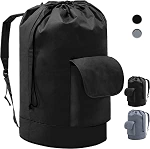 YOUDENOVA Waterproof Backpack Laundry Bag with Padded Adjustable Shoulder Strap and Pocket for College Dorm, Durable Oxford Backpack Hamper Bag with Drawstring Closure for Travel, Camping, XL