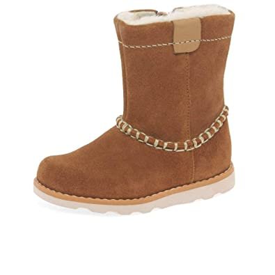 04f77cf8 Clarks Crown Piper Girls First Faux Fur Lined Suede Ankle Boots 4 F Tan  Suede