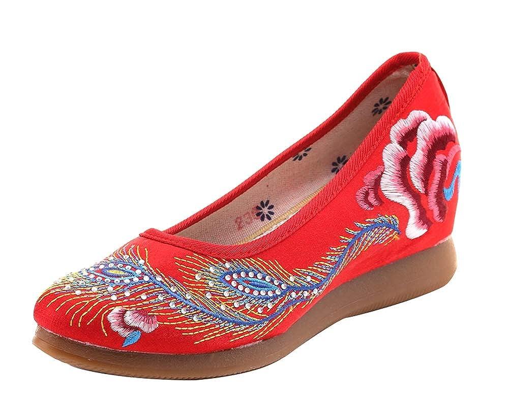 Icegrey Zapatos de Cuña Mujer Fiesta Bordada Mocasines Tacon Mujer: Amazon.es: Zapatos y complementos