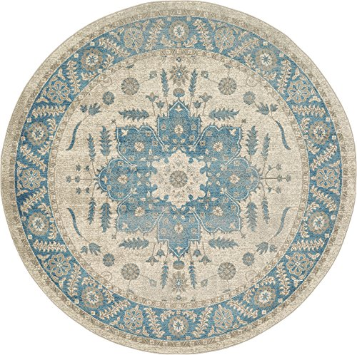 Unique Loom Salzburg Collection Traditional Oriental Cream Round Rug (7' 3 x 7' 3) (Traditional Round Rug Cream)