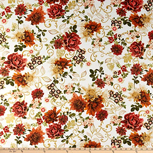 Harvest Fabric Green (Benartex Kanvas Harvest Gold Garden Cream Fabric by The Yard)