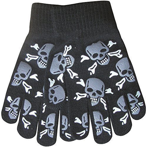 Boy's Warm Winter Thermal Knit Funky Design Magic Gripper Gloves (Skull & Crossbones Grey) (And Skulls Crossbones Grey Fleece)