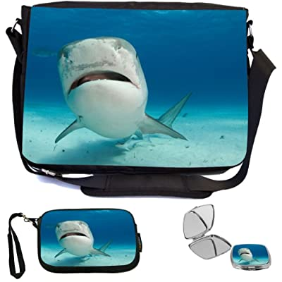 high-quality Rikki Knight Tiger Shark Nose Up Design COMBO Multifunction Messenger Laptop Bag - with padded insert for School or Work - includes Wristlet & Mirror