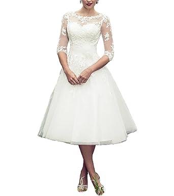 5f364c61991e YAXIU Women's Wedding Dresses 3/4 Sleeve Bride Gown Short Tea Length Vintage  Lace A-Line Wedding Dress Plus Size at Amazon Women's Clothing store: