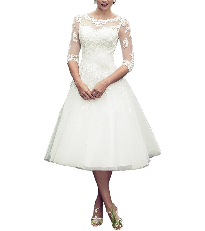 YASIOU Hochzeitskleider Standesamt Damen Kurz Wei/ß A Linie 3//4 L/änge Transparent Brautkleider mit /ärmel