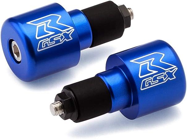 """7//8/"""" Inch Bar End 1985-2020 Suzuki GSXR 600 750 1000 1100 Blue Laser Etched CNC"""